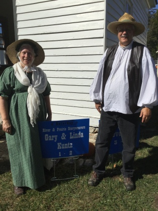 Linda and Gary Kuntz preparing to tell at Missouri Town 1855 (2017)